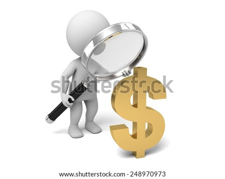 3d people with a magnifying glass and the dollar symbol . 3d image. Isolated white background - stock photo