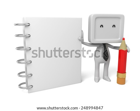 3d people with a notebook and a pencil. 3d image. Isolated white background - stock photo