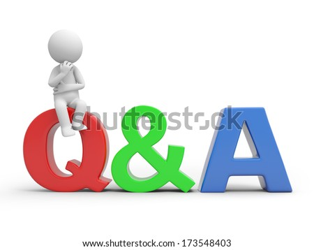 3D people with a Q&A sign - stock photo