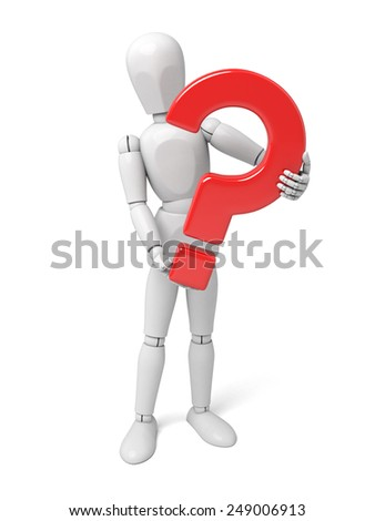 3d people with a question mark. 3d image. Isolated white background - stock photo