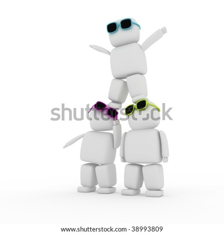 3d people with glasses create pyramid - stock photo