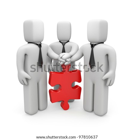 3d people with hands on top of puzzle. Image contain clipping path - stock photo