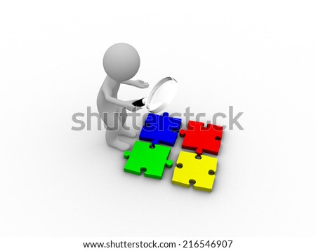 3D people with magnifier for detailed consideration - stock photo