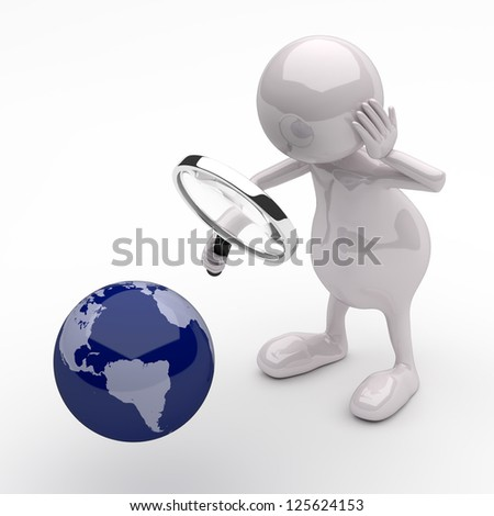 3D People with Magnifying Glass and Earth Globe - stock photo