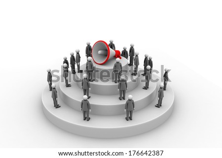 3d people with megaphone - stock photo