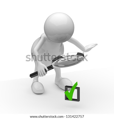 3D people with OK sign and Magnifying Glass - stock photo
