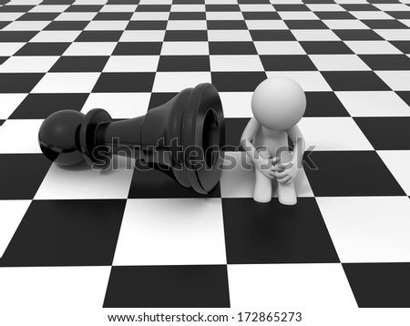 3d people with pieces on a chessboard - stock photo