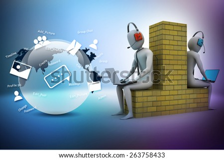 3d people working in laptop - stock photo