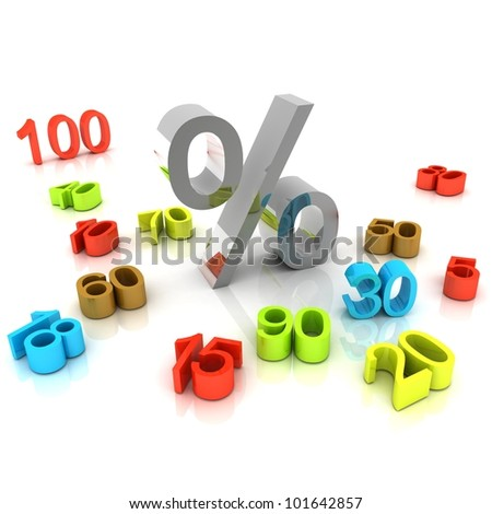3D percent numbers on white background for shopping days - stock photo
