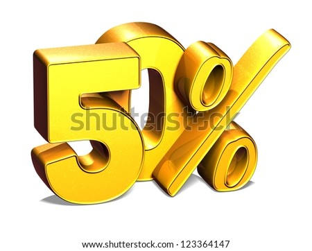 3D 50 Percent on white background - stock photo