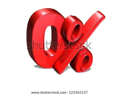 3D 0 Percent on white background - stock photo