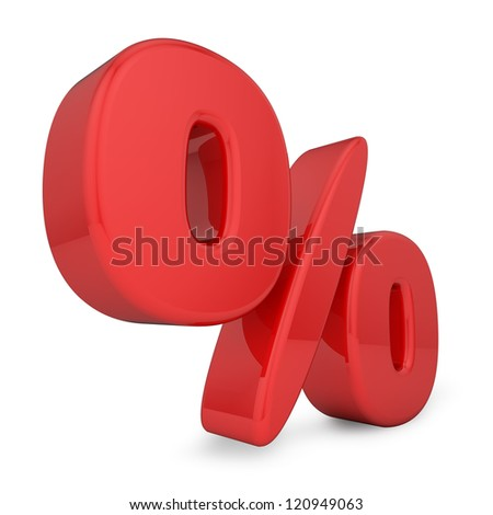 3d percent sign isolated on white background. - stock photo