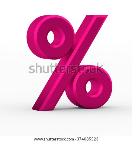 3d percent sign isolated on white background - stock photo