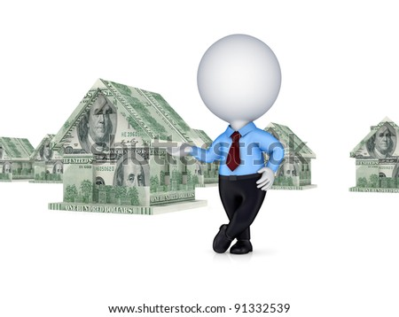 3d person and small house made of money. Isolated on white background. - stock photo