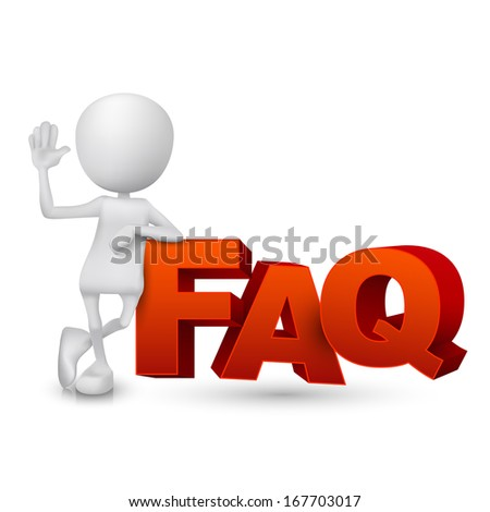 3d person and word FAQ ( Frequently Asked Questions ) isolated white background - stock photo