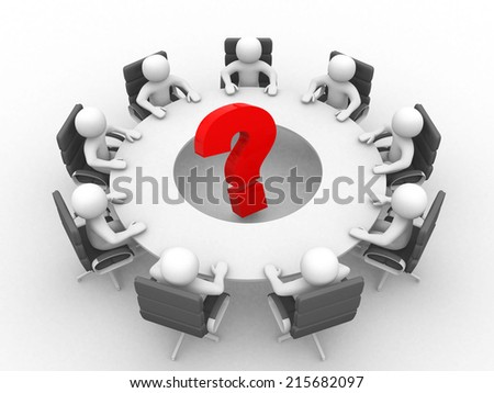3d person at conference table and question mark- This is a 3d render illustration  - stock photo