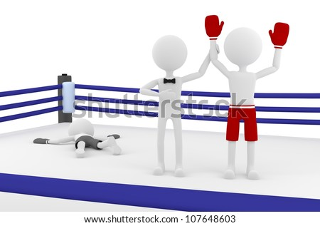 3d person boxer winning a match in a boxing ring with a referee lifting his hand. 3d image render. - stock photo