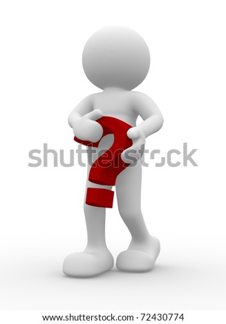 3d person character with a question mark - stock photo