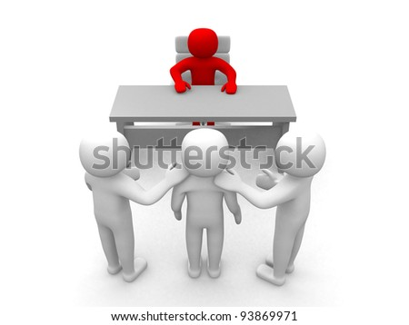 3d person - Congratulation in the office - 3d render illustration - stock photo