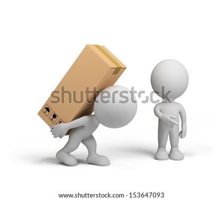 3d person delivered the goods to the customer. 3D image. White background. - stock photo