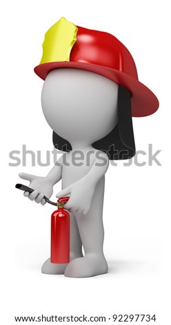 3d person - fireman with the fire extinguisher and in a helmet. 3d image. Isolated white background. - stock photo