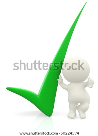 3D person getting it right with a green check mark - isolated over a white background - stock photo