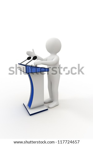 3d person giving a speech at the podium - stock photo