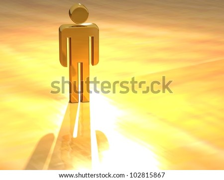 3D Person Gold Sign over yellow background - stock photo