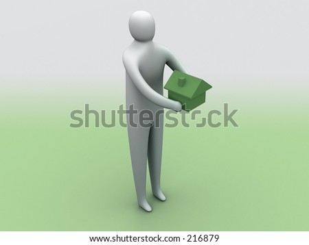 3d person holding a house. - stock photo