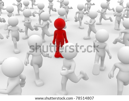 3d person- human character leadership and team - This is a 3d render illustration - stock photo