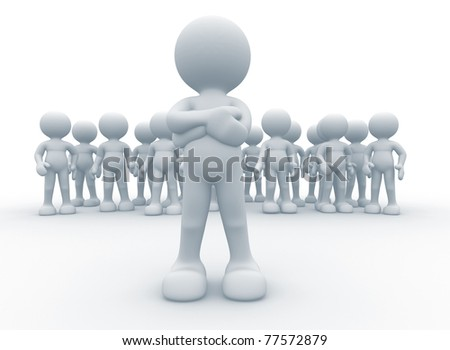 3d person icon leadership and team - This is a 3d render illustration - stock photo