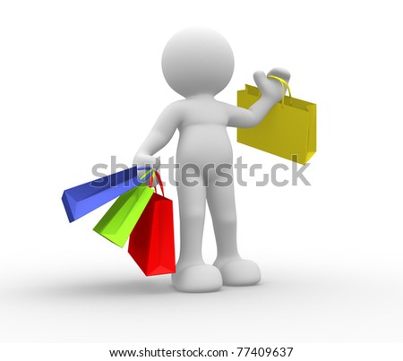 3d person icon with shopping bag T his is a 3d render illustration - stock photo