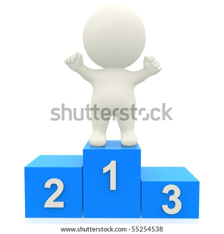 3d person in a podium winning first place - isolated over white - stock photo
