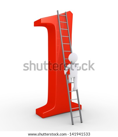 3d person is climbing a ladder that leads at the top of the number one - stock photo