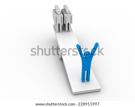3d person is heavier on a seesaw than many others  - stock photo
