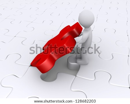 3d person is putting the last piece of the puzzle - stock photo