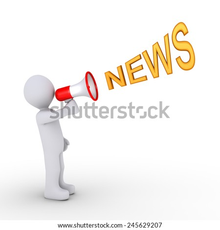 3d person is shouting NEWS through a megaphone - stock photo