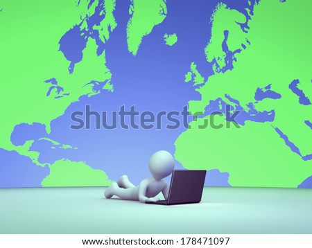 3d person is using a laptop and the map of the earth is around him - stock photo