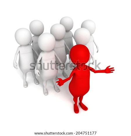 3d person leader and team. business success leadership concept 3d render illustration - stock photo
