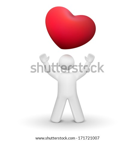 3d person looking up at a red heart symbol isolated white background - stock photo