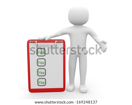3d person - man, people  with a clipboard. Businessman - stock photo