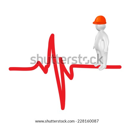 3D person on cardiogram as health and safety concept - stock photo
