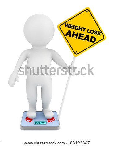3d person over weight scale with Weight Loss Ahead traffic sign on a white background - stock photo