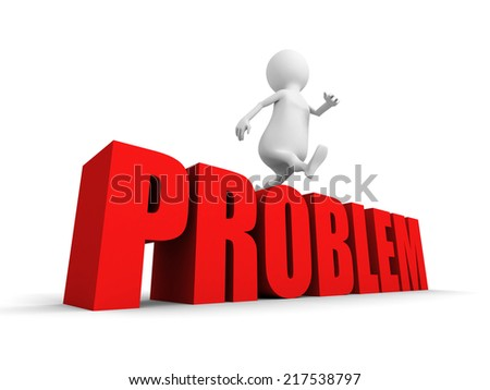 3d person overcomes jumping over word PROBLEMS.3d render illustration - stock photo