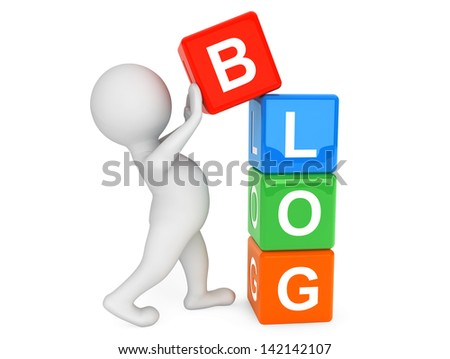 3d person placing blog Cubes on a white background - stock photo