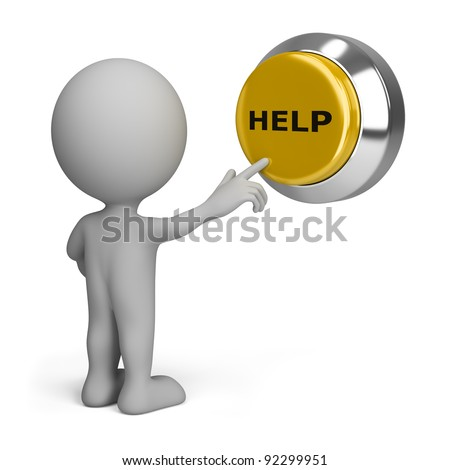 3d person pressing yellow the button help. 3d image. Isolated white background. - stock photo