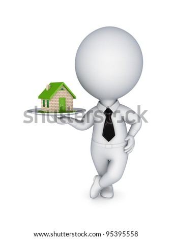 3d person pulling hands to small house.Isolated on white background. - stock photo