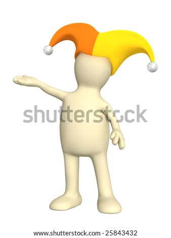 3d person - puppet, in a hat of the clown with bells - stock photo