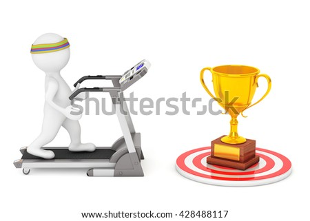 3D Person Running on a Treadmill to Large Golden Trophy in front on a white background. 3d Rendering - stock photo