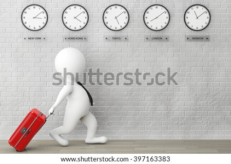 3d Person running with a Suitcase in front of Time Zone Clocks and brick wall - stock photo